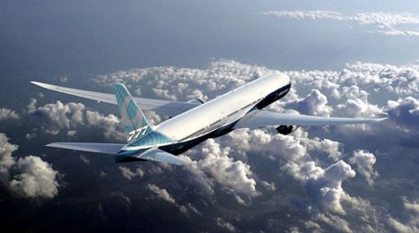 The graceful Boeing 777X, with wings longer than those of a 747 jumbo jet