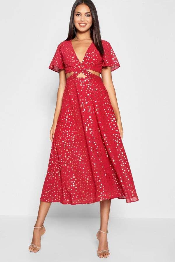 98276ad08172 boohoo Star Print Cut Out Skater Dress | boohoo Day Dresses în 2019 ...