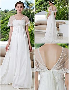 A-line Plus Sizes Wedding Dress - Ivory Sweep/Brush Train Of... – USD $ 99.99