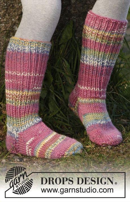 "February is #Sockalicious! Knitted DROPS socks in ""Big Fabel"". ~ #DROPSDesign #Garnstudio"