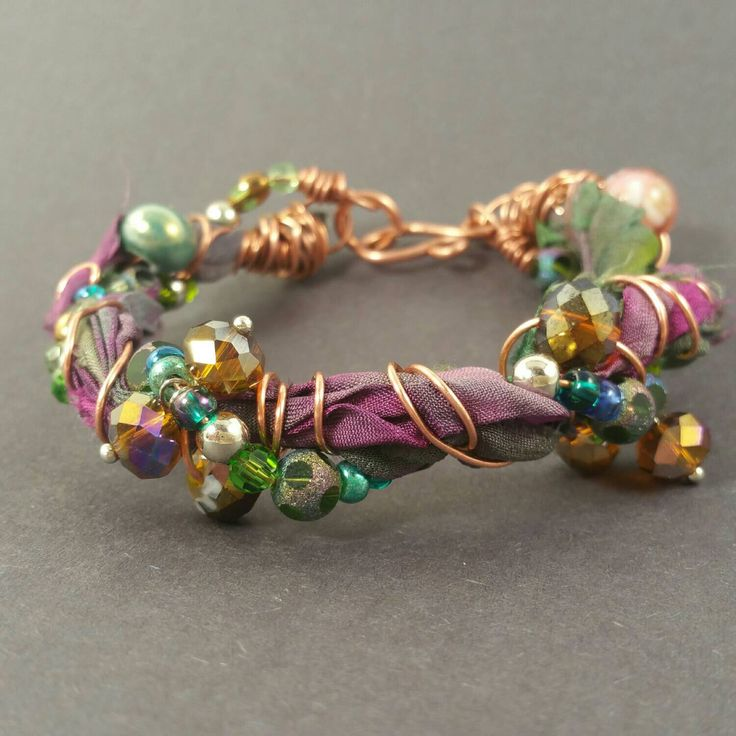 Bohemian recycled sari silk ribbon bracelet with beaded copper wire, glass beaded bracelet with copper and upcycled sari ribbon, mixed media