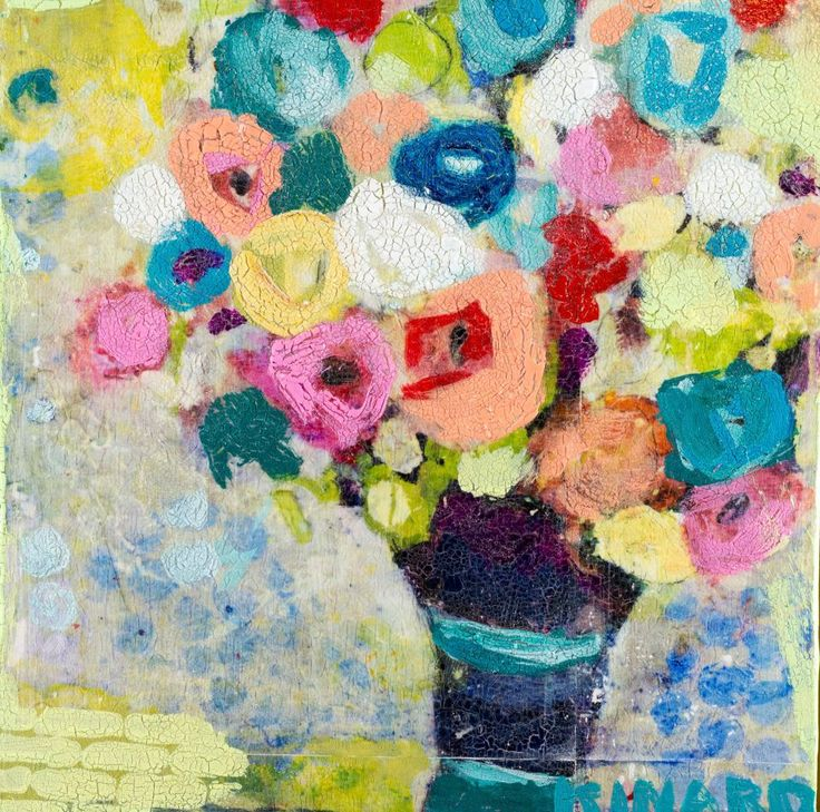<b>Flower Market 12x12</b> - Mixed Media-Shain Gallery (704) 334-7744