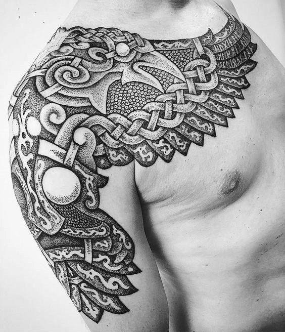 60 Odins Ravens Tattoo Designs für Männer – Huginn und Muninn Ideen