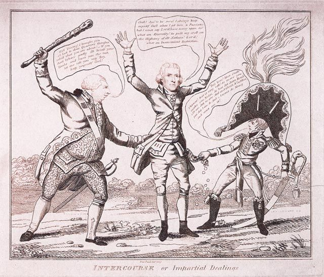 "In this satirical [1809] cartoon, ""Intercourse or Impartial Dealings,"" President Jefferson is depicted as being held up for money by Napoleon and King George. Critics of Jefferson believed that he had paid too much for Louisiana and was prepared to pay too much for the Floridas. This cartoon also satirizes the failure of Jefferson's use of the embargo and restrictions on trade as a curb on French and British depredations of American shipping."