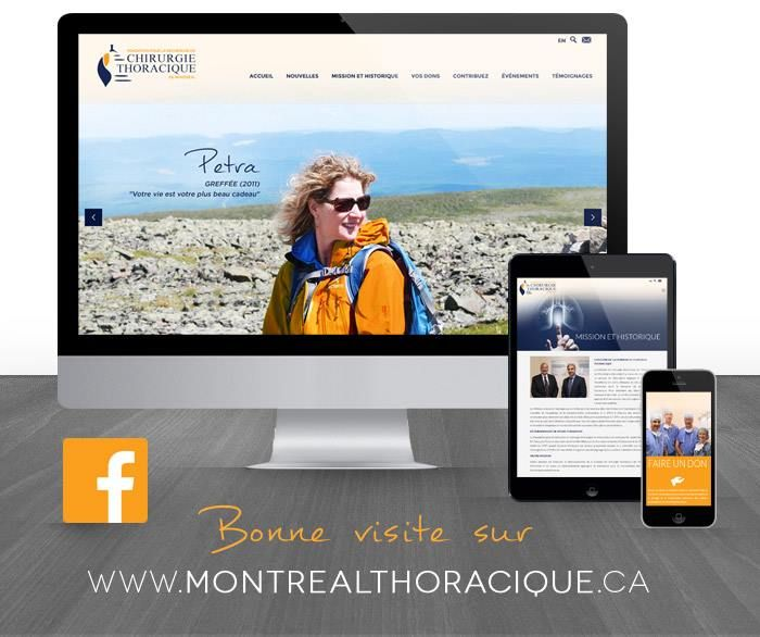 """It is with great pride that PAIVA Design present you the new website for the Fondation pour la recherche en chirurgie thoracique de Montréal!  With the technology of """" Responsive Web Design """", this new website will be with you everywhere, effectively adapting to your different devices and the resolution of your screen, giving you an optimal and enjoyable navigation.  #designweb #responsivedesign #paivadesign"""