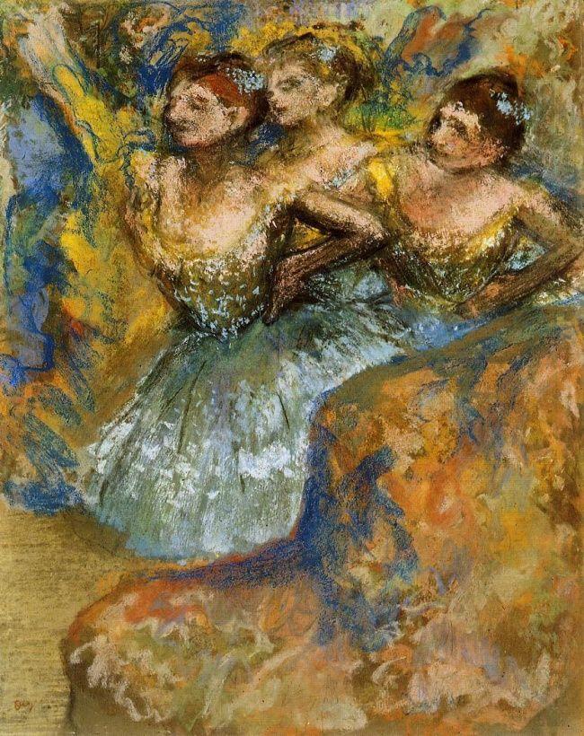 «Группа танцовщиц», 1900–1910 Многие картины Дега переплетаются с темой танца, и его последние полотна не стали исключением: эту серию пастелей с танцовщицами художник создавал, будучи уже практически слепым.