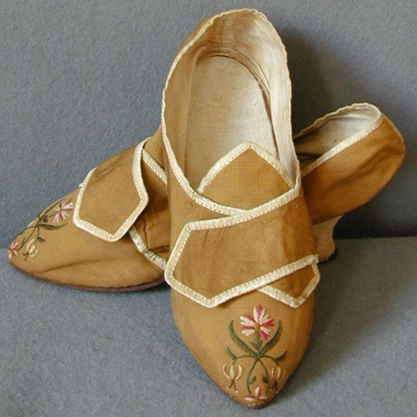 Embroidered Shoes - Bronze silk grosgrain embroidered with silk twist  C 1775