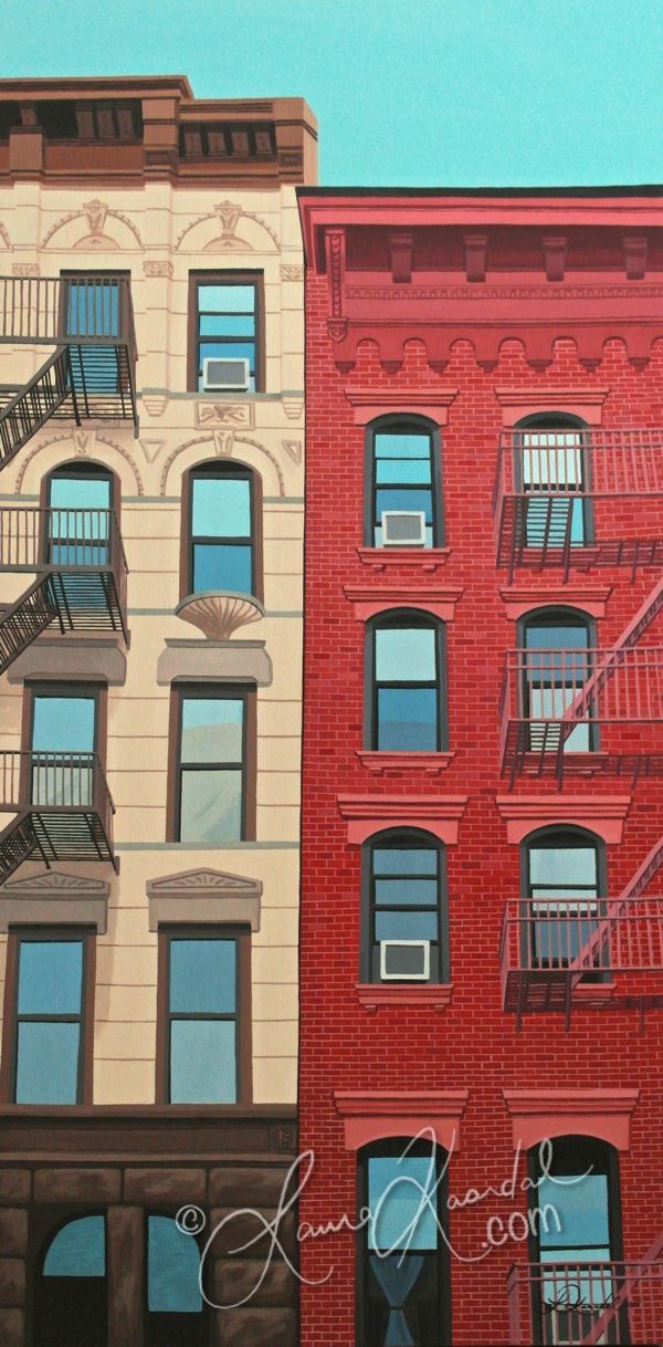 Windows, New York IV by Laura Kaardal www.laurakaardal.com #art #NYC #architecture #fireescape #soho #village #realism #city #urban #windows #nywindows #blue #red #tenement #brownstone