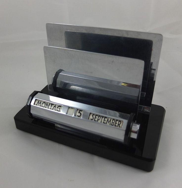 Art Deco Briefhalter Briefständer u. ewiger Kalender Marmor Chrom in…