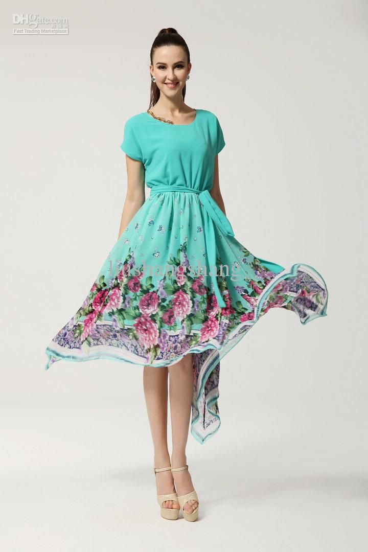 2013 Beach Party Dresses Women's Plus Size Long Chiffon Summer Maxi Dress Large Rose Hem Evening Dress For Women G8026