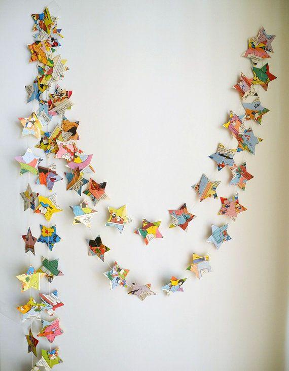 Childrens Book Nursery Decor : star garland