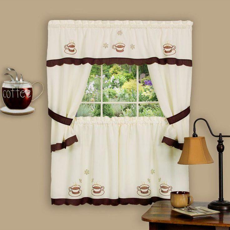 Achim Cuppa Joe Embellished Cottage Curtain Set - CUCS24BW12