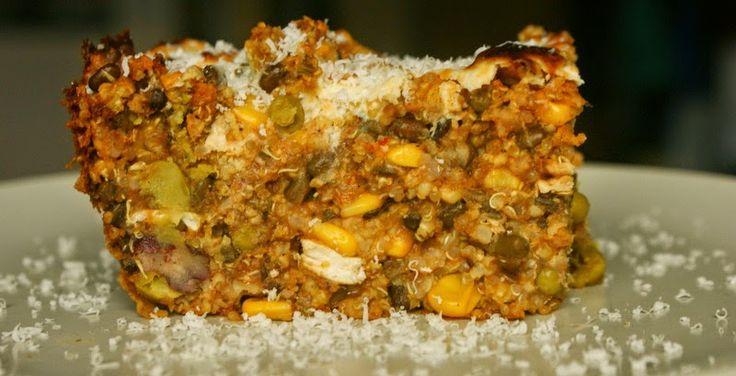 Zimowa zapiekanka jaglana z warzywami, soczewicą i cieciorką