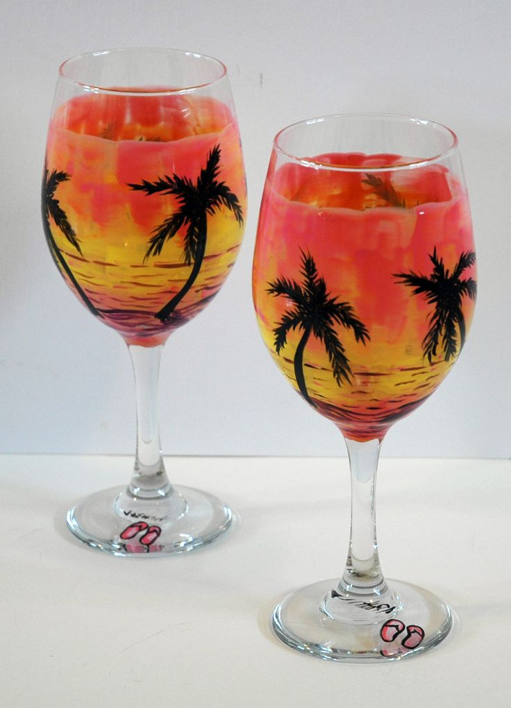 "2-Large+(20+oz)+Handpainted+Wine+Glasses.+Approximately+9""+tall.++Food+Safe.+Hand+washable"
