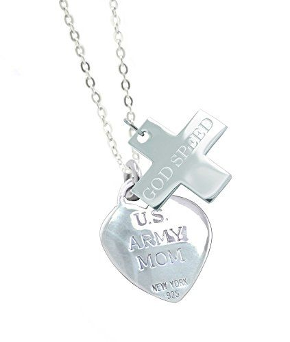 Solid Sterling Silver Army Mom Military Gift Valentine Necklace GS. All Army Jewelry - Generous Silver Weight - Good Solid Feel. Army Mom Necklace - 18 Inch Sterling Silver Chain. All Military Valentine Gifts - Teal Jewelry Pouch - Polishing Cloth. All Military Jewelry - Solid Sterling Silver 3D Charms. All Army Valentine Gifts - Teal Designer Jewelry Gift Box.