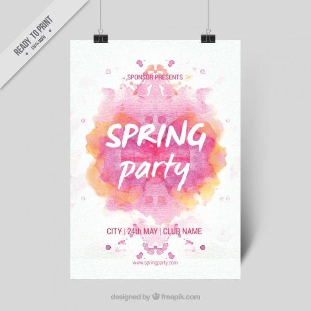 ピンクの水彩スプラッシュかわいい春のパーティーのポスター 無料ベクター