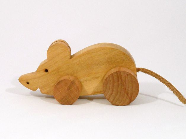 Wooden Toys – Small MOUSE / Fruit wood, leather / Eco Friendly – a unique product by Desdeco on DaWanda