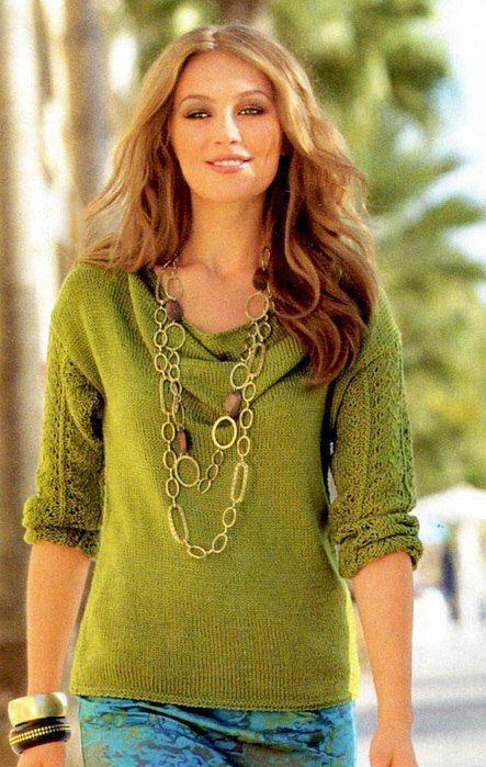 Вязанный пуловер с воротом каскад