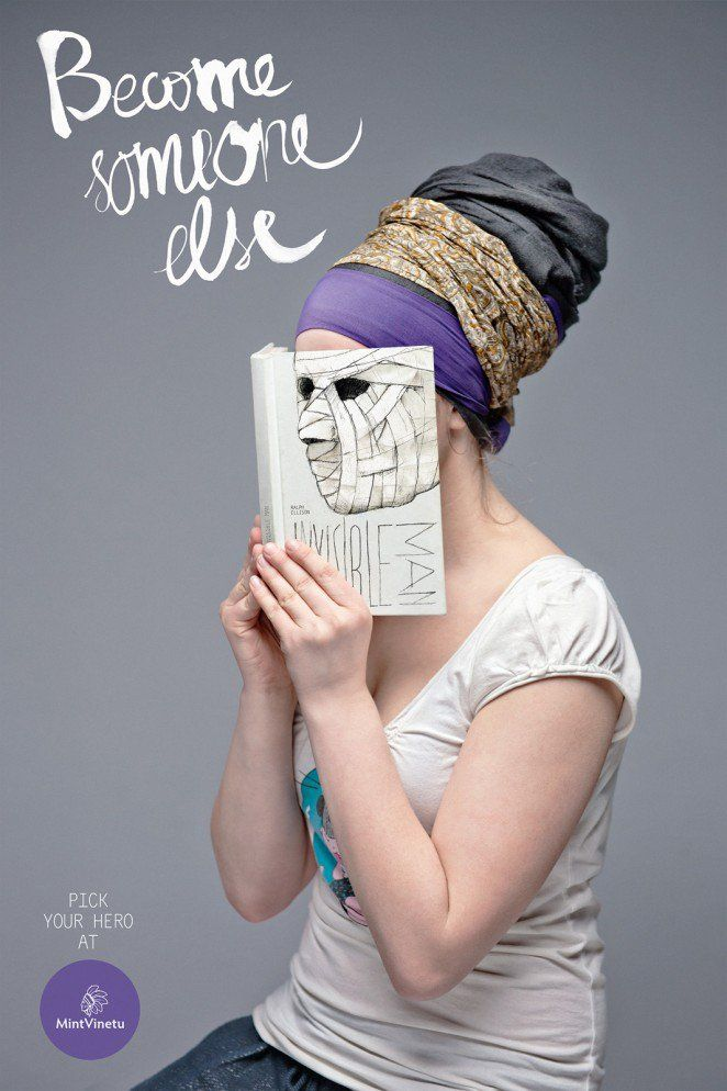 """Love Agency's striking """"Become Someone Else"""" campaign for Lithuania's Mint Vinetu Bookstore blends the faces of the readers with nearly sinister book covers."""