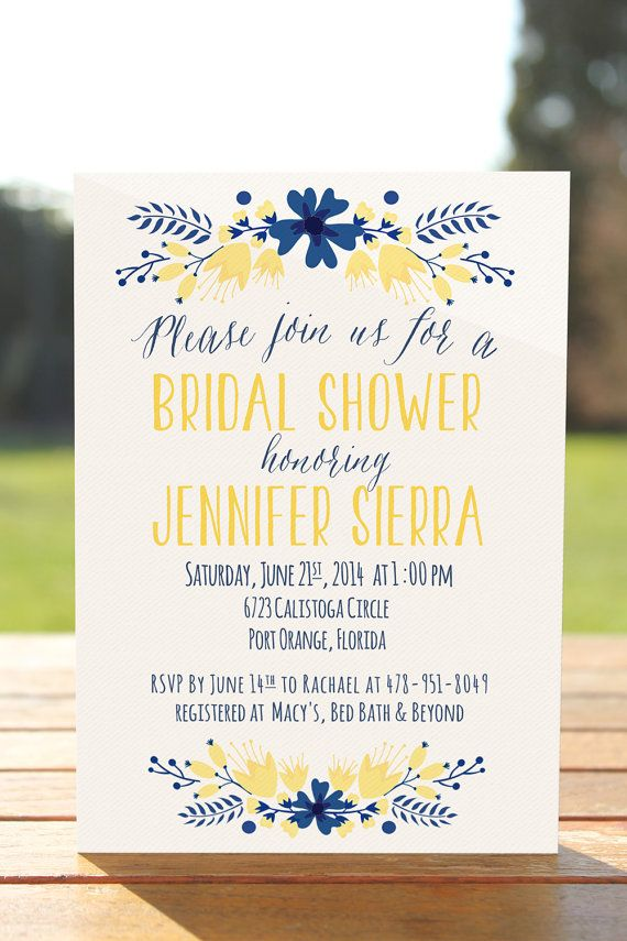 Yellow navy printable bridal shower by OnlyPrintableArts on Etsy