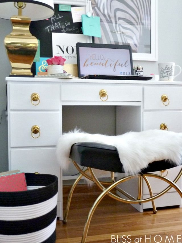 Great glamorous work space from Bliss at Home. Might do something like this in our sitting room.