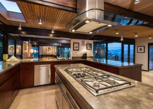 Post and beam mid century modern kitchens pinterest for Mid century post and beam house plans