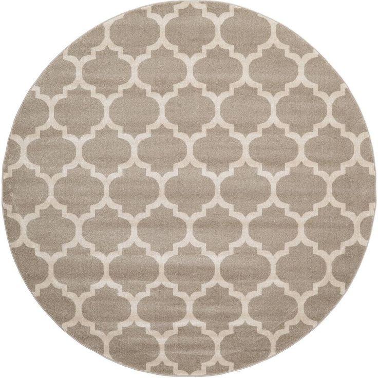 Geometric Trellis Tan 8 Ft. X 8 Ft. Round Rug