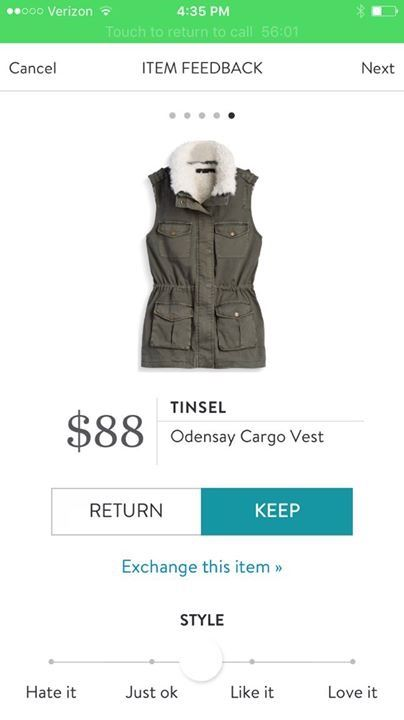 September Fix 4: KEPT! Tinsel Odensay Cargo Vest -- didn't love the fur but the collar is detachable, great style for fall