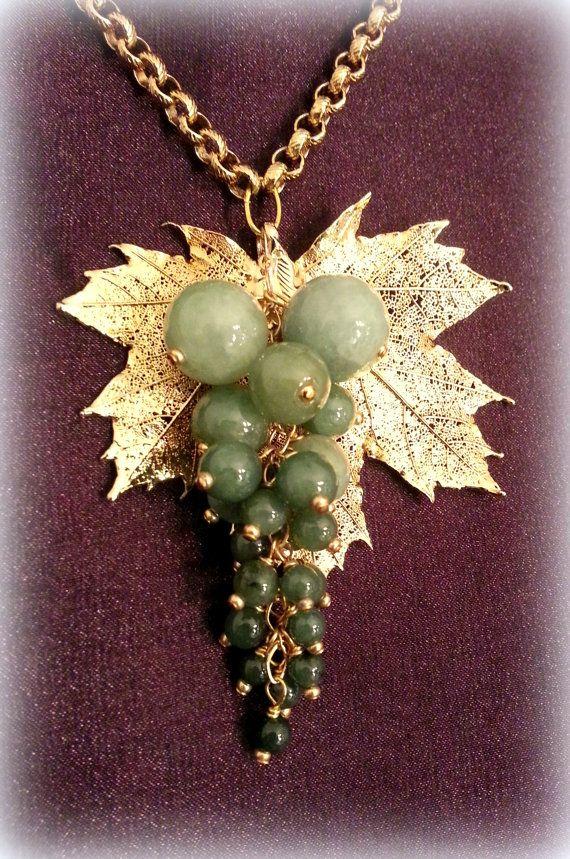 Grape genuine jade necklace gold leaf jade by LarisaBoutique