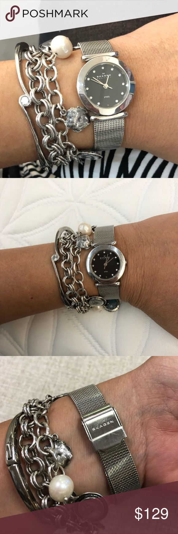 Skagen diamond in stainless steel mesh watch Excellent condition.  No scratches on crystal . Scratches on the back only.  No box no papers final sale trade value higher Skagen Accessories Watches