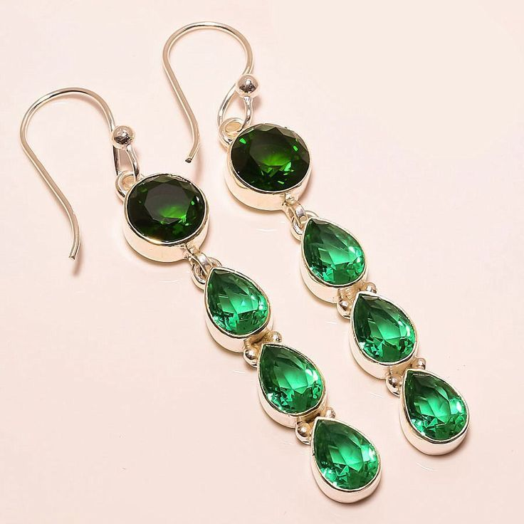 Green Tourmaline, Chrome Diopside 925 Sterling Silver Jewelry Earring 2.68