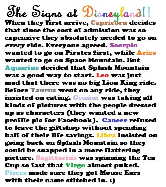 the Signs at Disneyland -Le Zodiac Hahaha so this is what our family will be like if ever going to disneyland