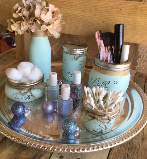 Cosmetic Set Aqua Mason Jars Vase Shabby Chic by VintageDaisyHome