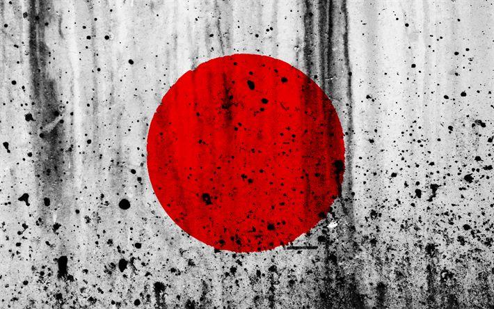 Download wallpapers Japanese flag, 4k, grunge, flag of Japan, Asia, Japan, national symbols, Japan national flag