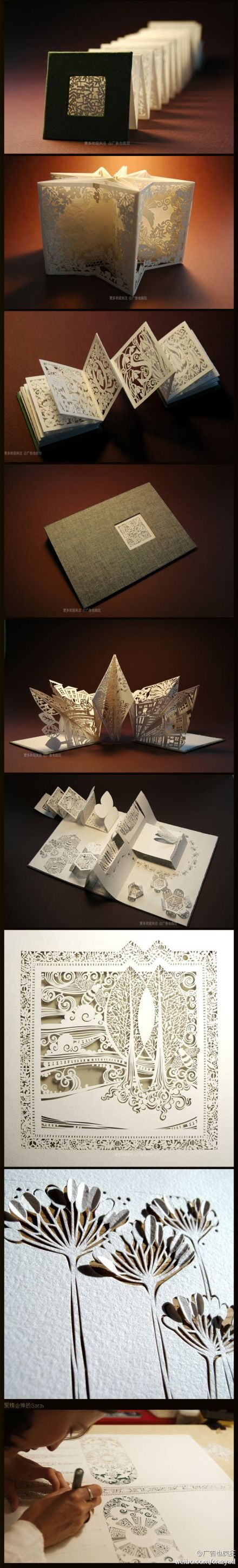 paper carving in accordion book..