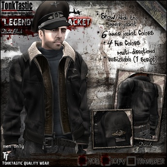 "Second Life Marketplace - TonkTastic - ""Legend"" Flight Jacket [Dusk Black]"