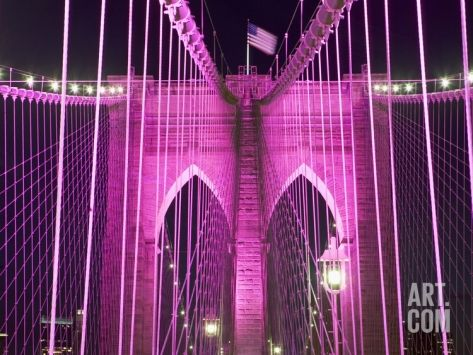 Brooklyn Bridge Lit Purple Photographic Print by Alan Schein at Art.com