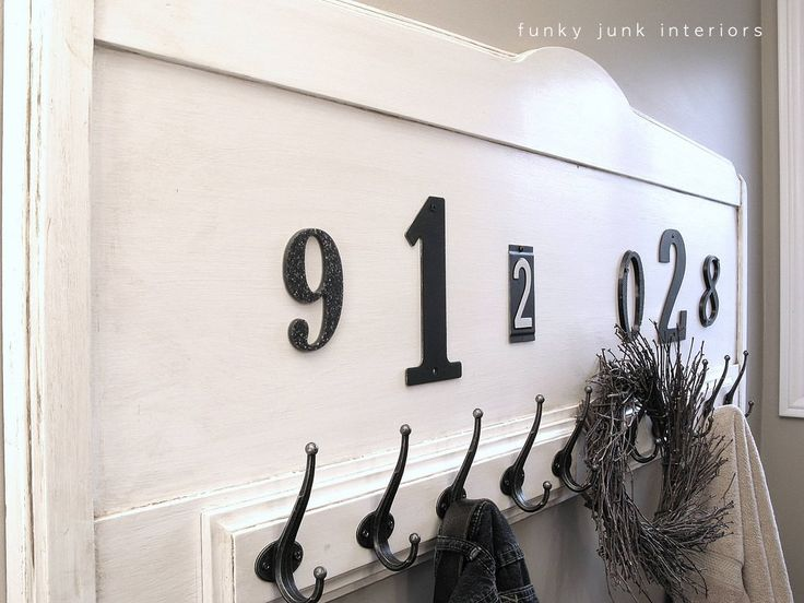vintage headboard turned towel rack with house numbers via funkyjunkinteriorsnet - Funky Coat Racks