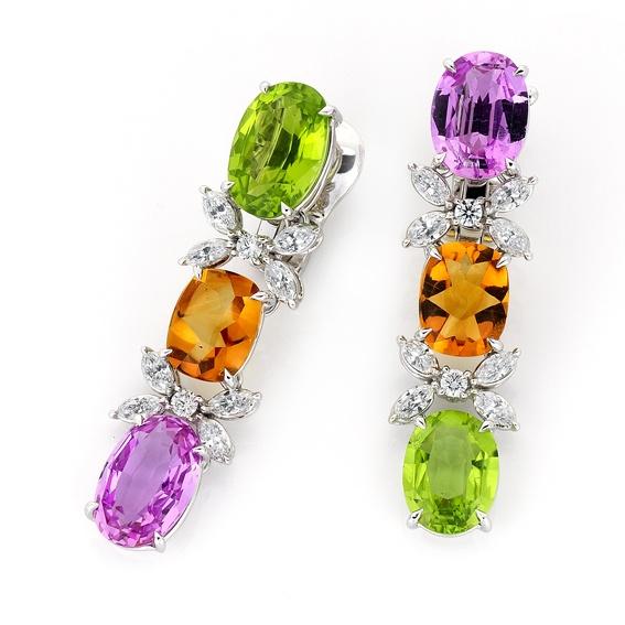Stunning Peridot, Citrene, Amethyst, and diamond earrings