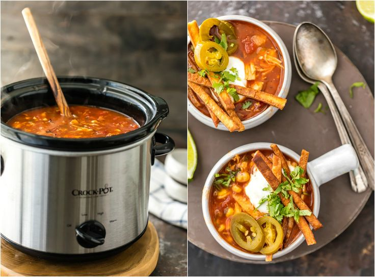 Skinny Slow Cooker Chicken Tortilla Soup is my absolute FAVORITE SOUP recipe for Winter! Spicy, easy, and delicious. Throw all the ingredients in a crockpot and you're done! Easy fried tortillas make the perfect topper!