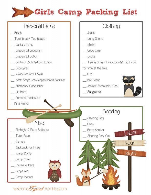 Girls Camp Packing List