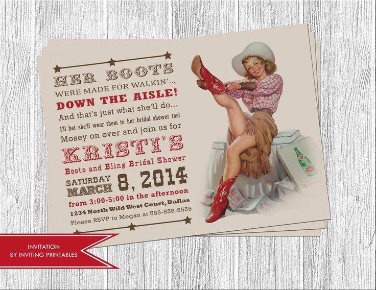 Western Cowgirl Bridal Shower Invitation   invitingprintables - Digital Art on ArtFire