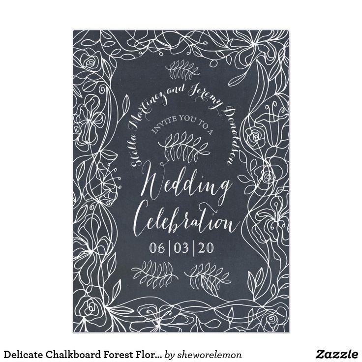 Delicate Chalkboard Forest Floral Invitation
