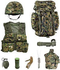 Kids Platoon Leaders Full Role Play Set - Woodland Digital Camouflage. Woodland Digital Camouflage Backpack & Kids Army Kids Helmet with Woodland Camouflage Helmet. Woodland Digital Camouflage Kids Combat Vest & Woodland Camouflage Angle Flashlight. Realistic Sounding Grenade & Woodland Camo 2-Color Face paint stick. Woodland Digital Camouflage Water Bottle. **Includes Free Dog Tags**.