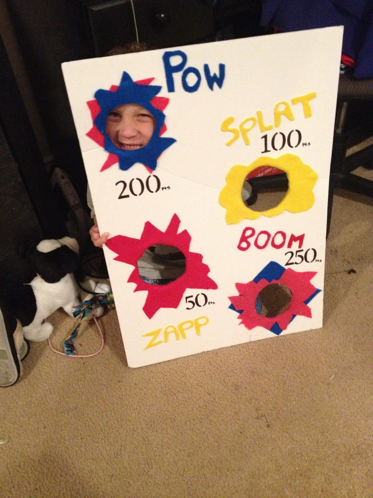 Superhero party game- bean bag toss game Very cheap, thick foam poster board, felt and markers