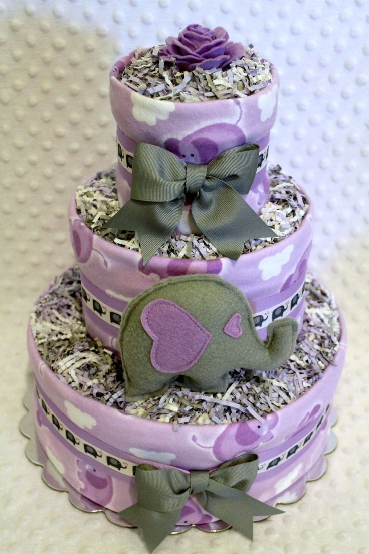 baby diaper cake gray lilac lavender purple elephant shower gift