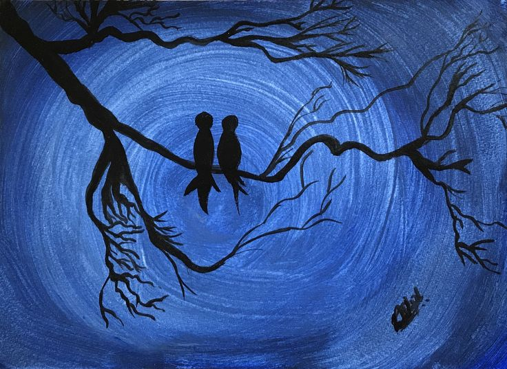 """""""Love birds"""" by Ria Rushin Joseph. Paintings for Sale. Bluethumb - Online Art Gallery"""