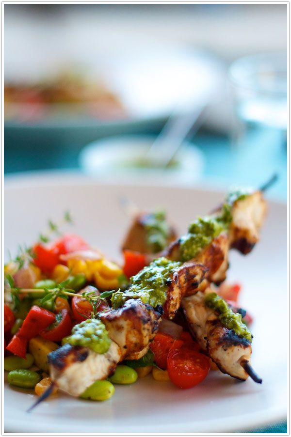 made this 6/12/12 - summer succotash with grilled chicken skewers & chimichurri - very flavorful! sauce was pretty runny but still tasted good.