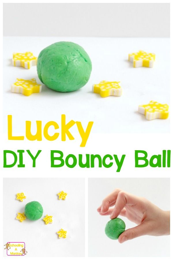 This adorable DIY bouncy ball is Kelley green and a super-fun, hands-on way to add St. Patrick's Day science to your classroom! #stpatricksday #science #stemactivities #kidsactivities