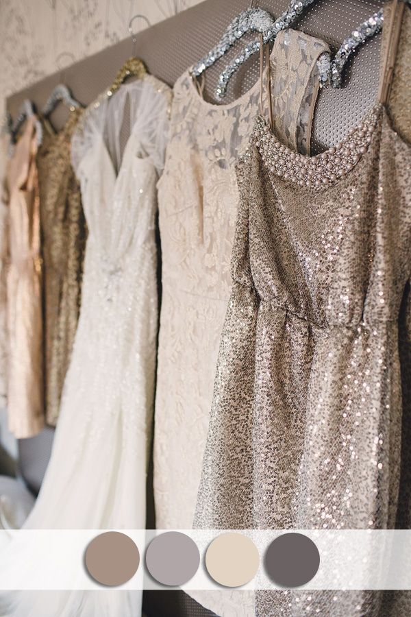 neutral colors inspired sequins bridesmaid dress for fall wedding ideas